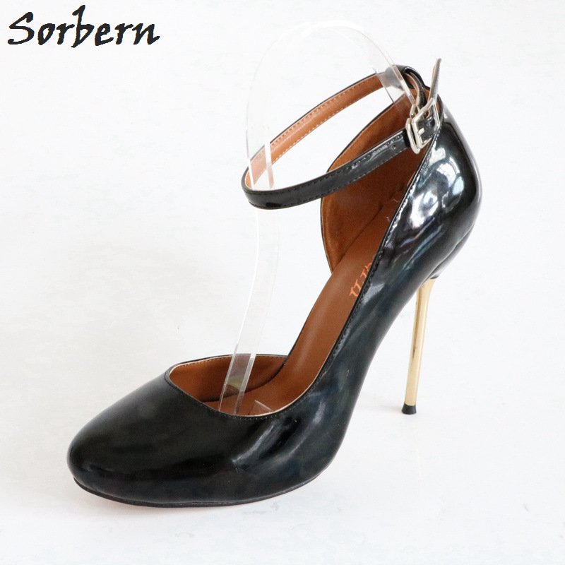 Sorbern Cute Toe Ankle Strap Women Pumps Gold Metal Heels Stilettos Shoes Evening Party Ladies Shoes Size 44 Sapato Feminino Sorbern Cute Toe Ankle Strap Women Pumps Gold Metal Heels Stilettos Shoes Evening Party Ladies Shoes Size 44 Sapato Feminino