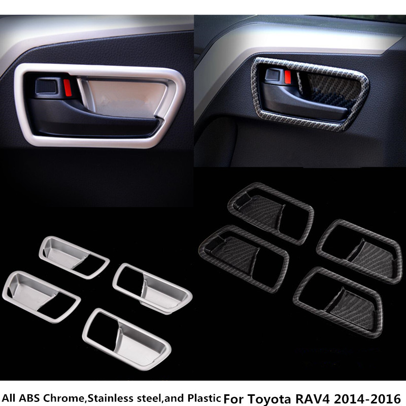 For Toyota RAV4 2014 2015 2016 hot sale car styling ABS Chrome/carbon fiber cover stick trim door inner handle bowl frame lamp