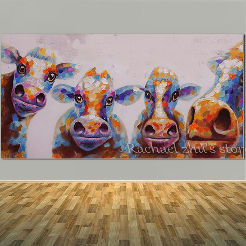 Hand Painted Abstract Cow Oil Painting On Canvas Animal Cartoon Children's Room Wall Pictures For Living Room Bedroom Home Decor