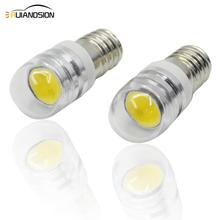 2pcs 2W Indicator COB LED E10 6v~6.3v 12V E10 Screw Signal instrument Torch bulb Warm White/White E10 Round head Button bulb 1 2 4 pcs new rushed lamp 2835 smd 1 led bulb dc 6v volt white mes e10 1447 screw for torch bike bicycle free shipping