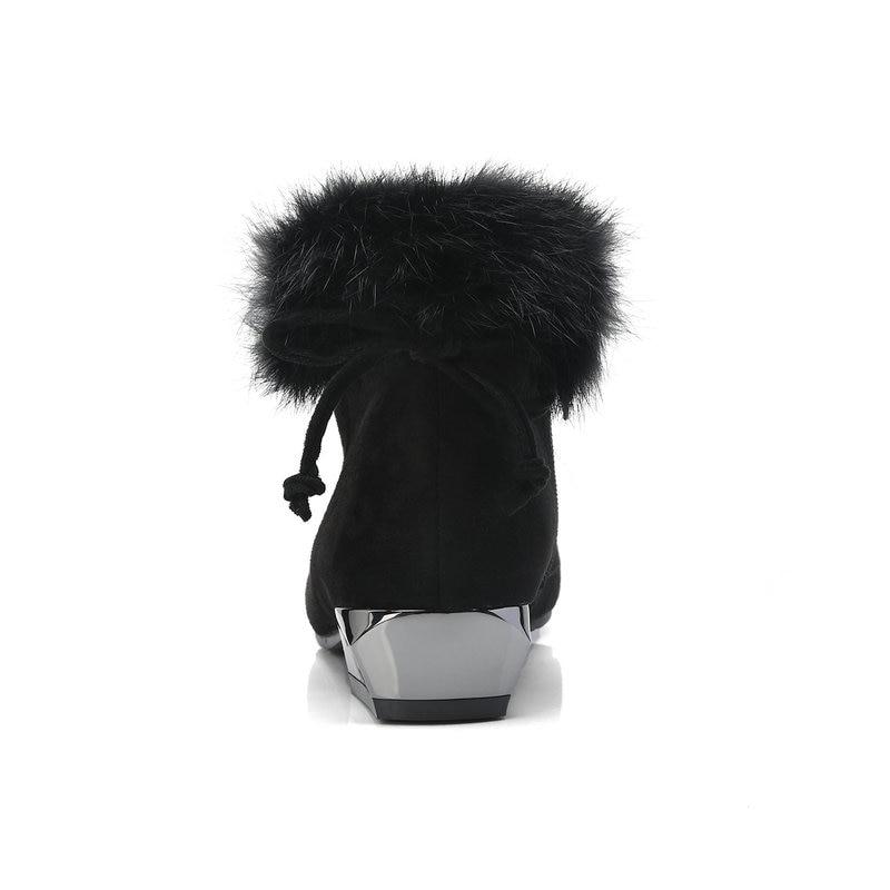 Cremallera En Partido Tacones Sexy Para negro Gran Tobillo Invierno Sweet 3 34 Oscuro Zapatos Khaki Mujeres Cm Nieve Mantener Caliente Bajos 2019 gris Tamaño 43 w6aIf6