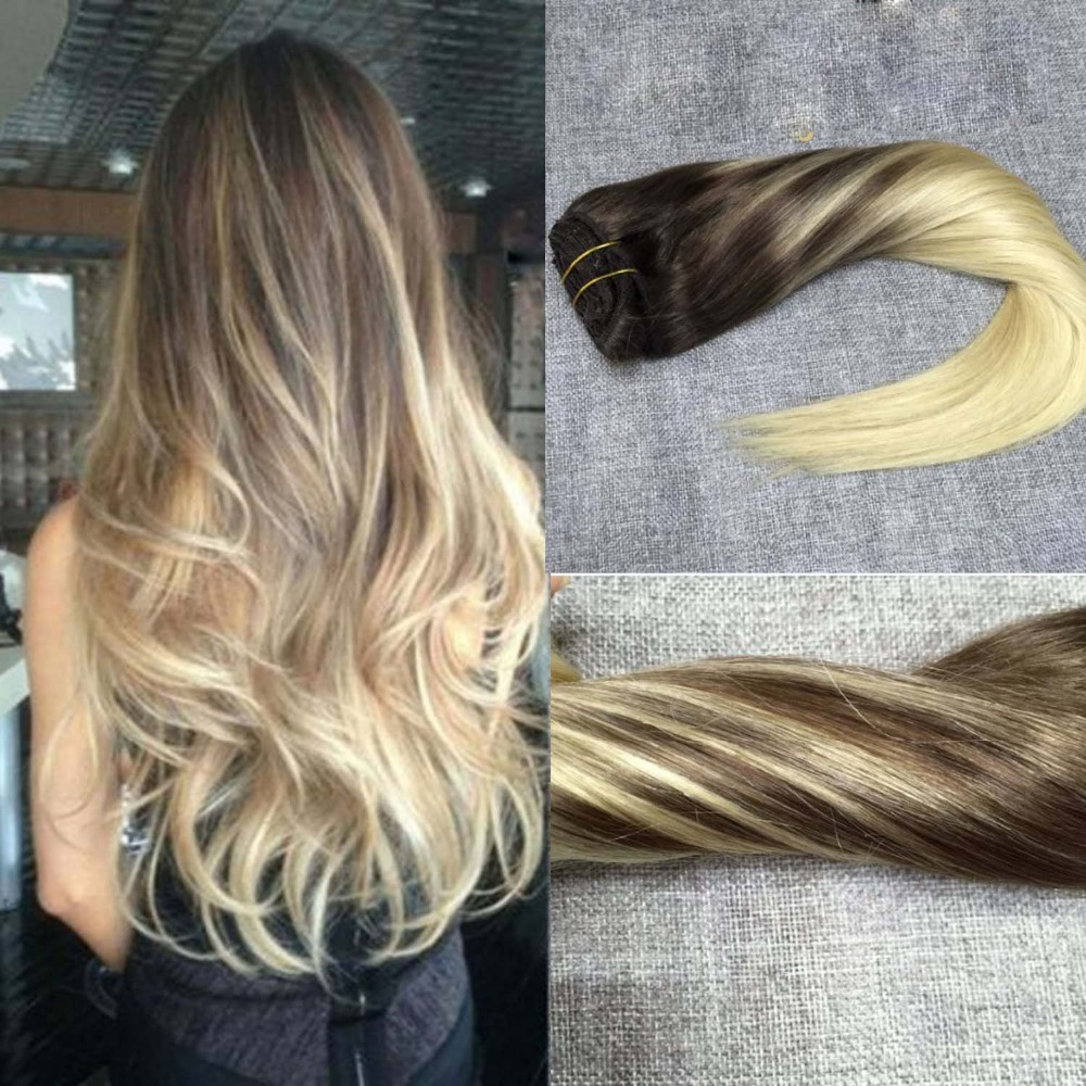 Full Shine Remy Ombre Brazilian Virgin Clip in Hair Extensions Balayage Blonde Hair Clip in Extension Color #4 to #613 7pcs Set