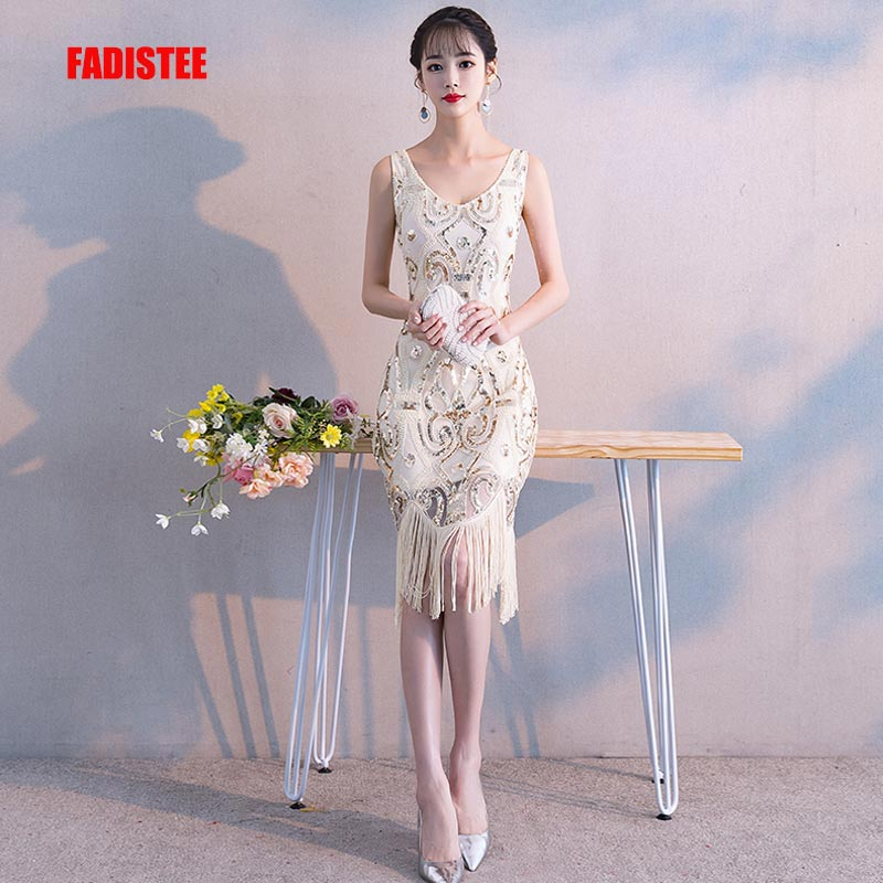 FADISTEE New Arrival Cocktail Party Prom Dresses Vestido De Festa Sequins Simple Tassel Pattern Beads Style Dress 2019