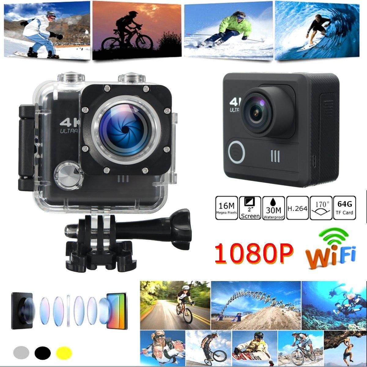 4K 16MP WIFI Sport Action Video Camera 2 inch DV 1080P HD Cam DVR Waterproof Remote 2017 arrival original eken action camera h9 h9r 4k sport camera with remote hd wifi 1080p 30fps go waterproof pro actoin cam