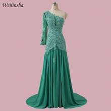 Weilinsha Emerald Chiffon Evening Dress Full Sleeve