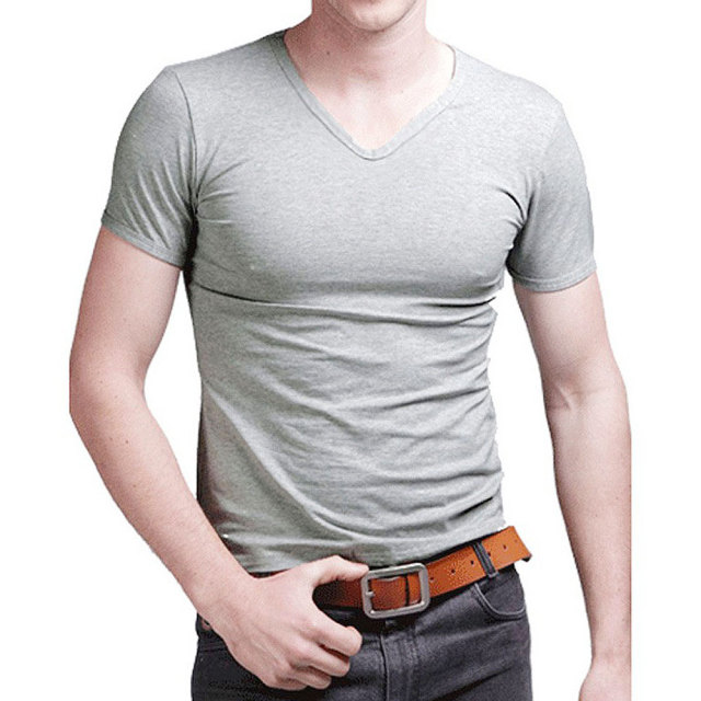 Free Shipping 2019 summer Hot Sale Cotton T shirt men's casual short sleeve V-neck T-shirts black/gray/green/white S-5XL MTS181