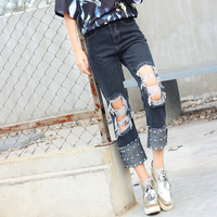 New Arrive Women Pant Summer Ripped Slim Denim Jeans Ladies Punk Style Embroidered Flare Fashion Sexy