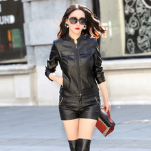 2019 New Fashion Womens Black Faux Leather Jackets Ladies Soft Sheepskin Coat Plus Size Female leather Zippers Clothing