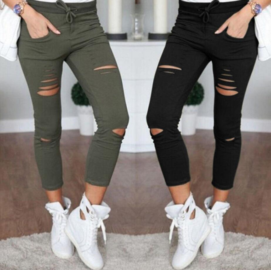 New 2016 Skinny Jeans Women Denim Pants Holes Destroyed Knee Pencil Pants Casual Trousers Black White Stretch Ripped Jeans