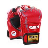 כפפות ההתמודדות MMA אגרוף אגרוף PU בדי כותנה עבה מיוחד UFC Sanda לחימה כפפות אצבע חצי 5 צבעים