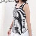 New Brand 2016 Summer Fashion Casual Vertical Stripe Sleeveless Sexy Plus Size Tee T Shirt Women Tops Femme Tshirt XXXXL 5XL 6XL