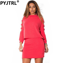 Fashion New Pattern Plus Size 6XL Women's Pure Color Casual Twinset Top Ans Skirt Two Piece Set
