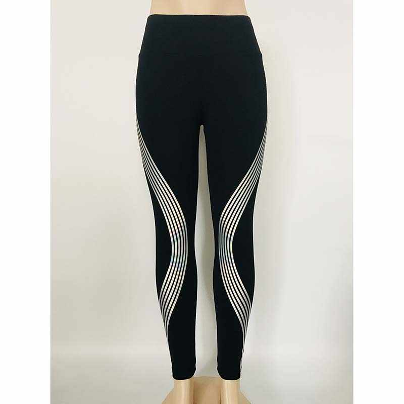 7914f503bc ... 2018 Reflective Leggings Glow in the Dark Night Light Stripes Laser  Fitness Pants Gymming Workout Sporting