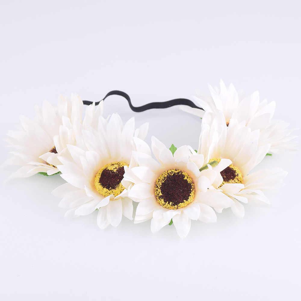 Cxcompences ткань подсолнух цветок повязка на голову головной убор Пасхальный цветок Корона волосы ремешки с аксессуарами Цветочная Корона венок свадьба