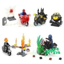 SY220 Building Blocks Super Hero Avengers Spiderman Batman Captain America Ghost Rider Motorcycle Bricks Toys Figure