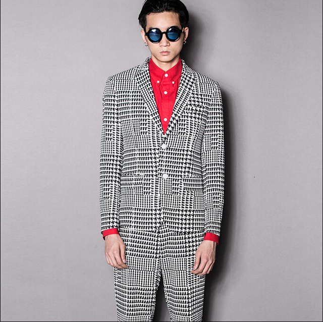 Original street British gentleman men's clothing brand casual suit Slim Houndstooth plaid simple suits Costumes Wedding dress