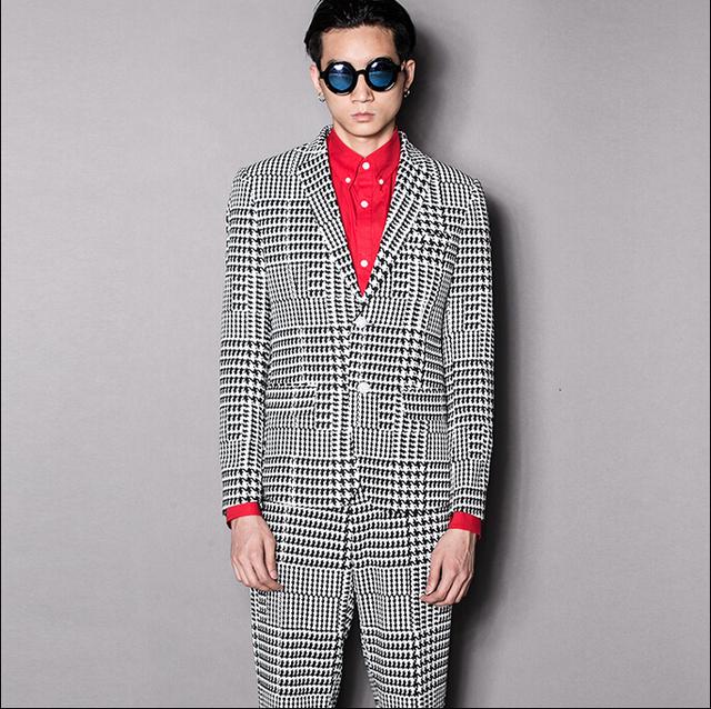 Rua cavalheiro britânico dos homens marca xadrez quadriculado fino simples ternos trajes vestido de noiva