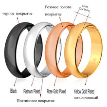 Ring Simple Style Black/Silver/Gold Color 5MM Wide Fashion Wedding Bands Rings for Men/Women