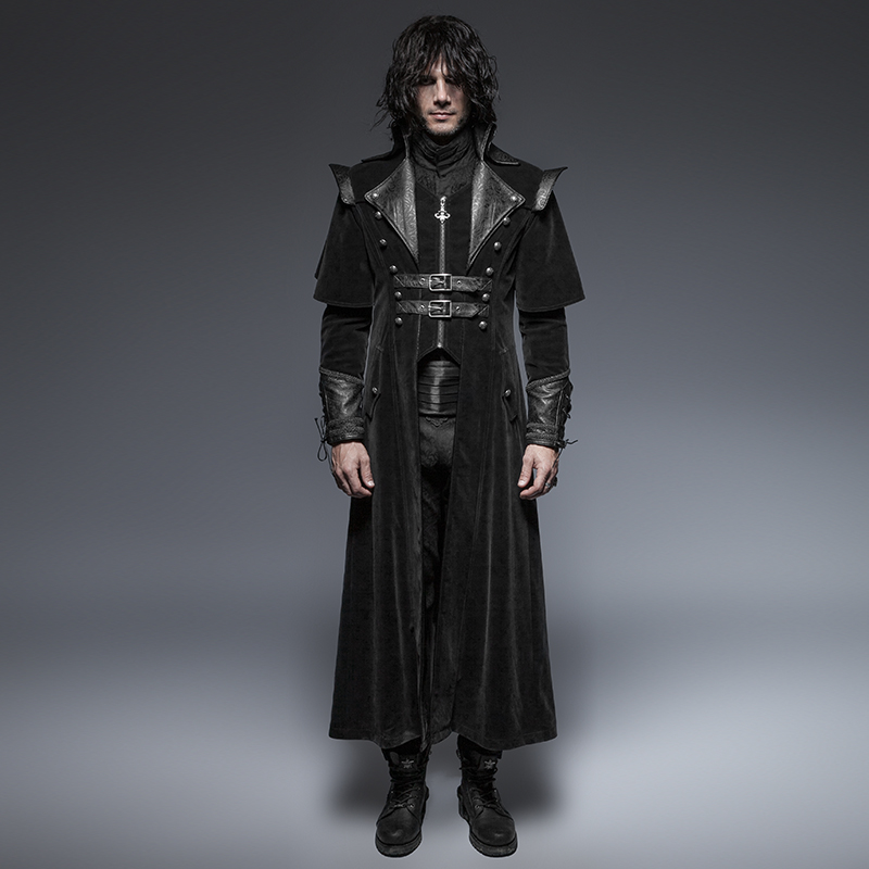New Gothic Cool Leather Belts Long Cloak Coat For Men Handsome Steampunk Black Casual Long Jacket Cape Style Overcoats