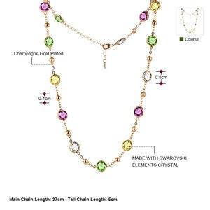 Image 2 - Neoglory 크리스탈 다채로운 라운드 비즈 긴 매력 목걸이 클래식 두 사용 드레스 파티 스와 로브 스키에서 크리스털로 장식
