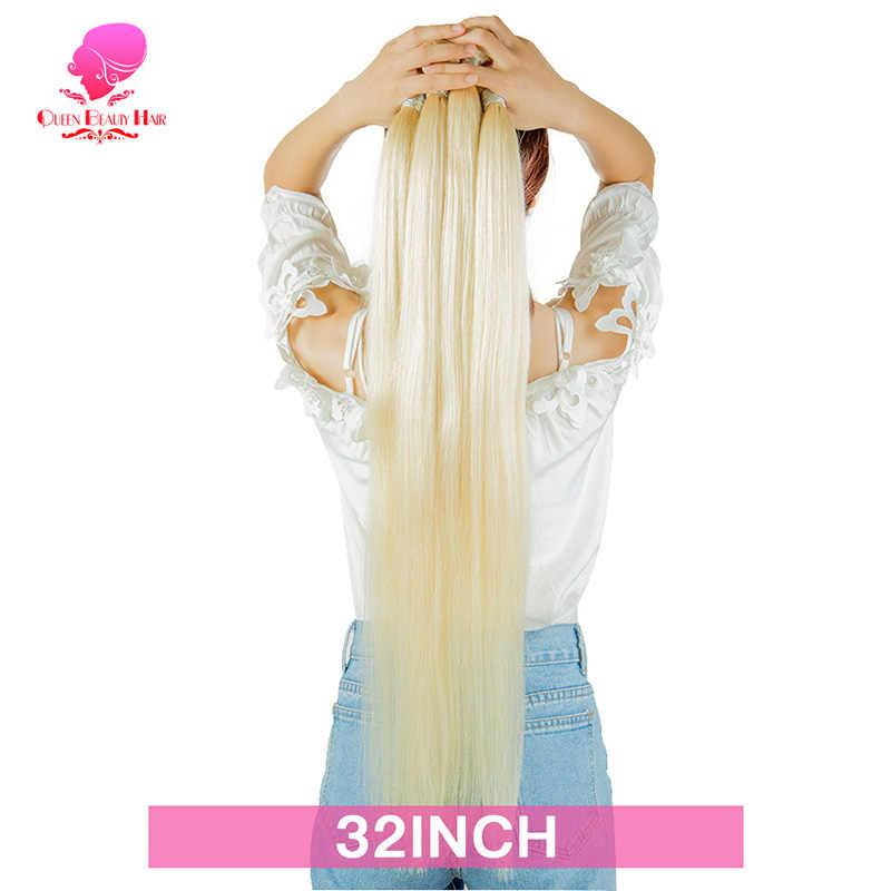 KONINGIN SCHOONHEID 1/3/4 Bundels 613 Remy Blonde Peruaanse Steil Haar Weave 8 10 12 14 16 18 20 22 24 26 28 30 32 34 36 inch Bundels