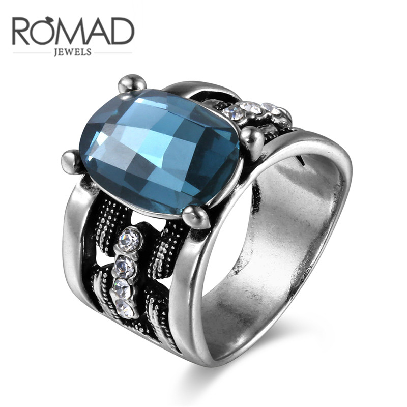ROMAD Antique Rings Silver Oxide Silver Color Mysterious Blue Zircon Rings Jewelry for Women New European and American Fashion