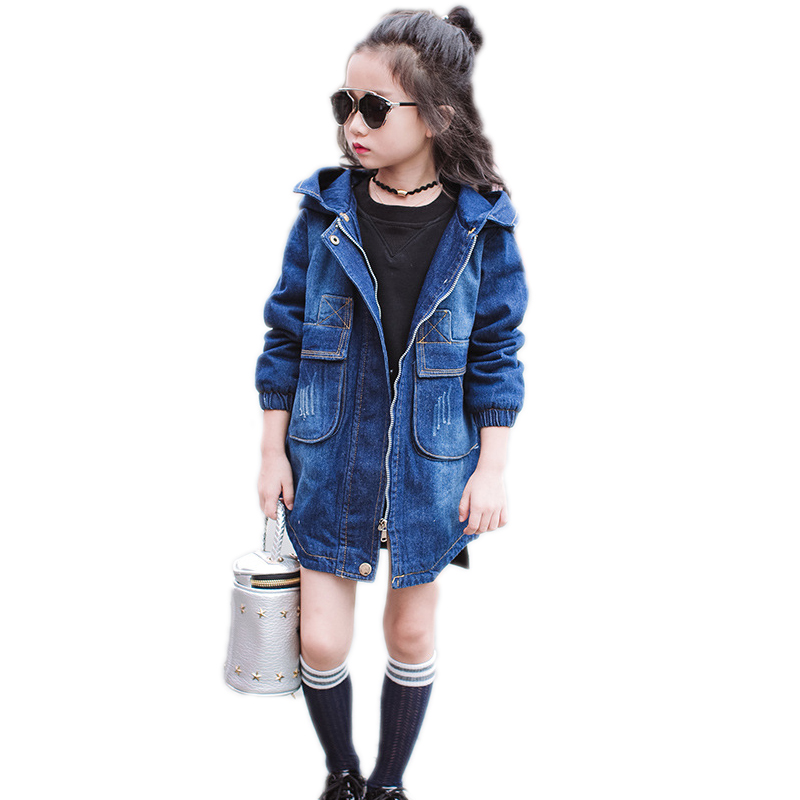 kids jackets for girls winter thicken girls coats and jackets winter solid denim girls coat big fur collar hooded kids outwear 2017 winter new clothes to overcome the coat of women in the long reed rabbit hair fur fur coat fox raccoon fur collar
