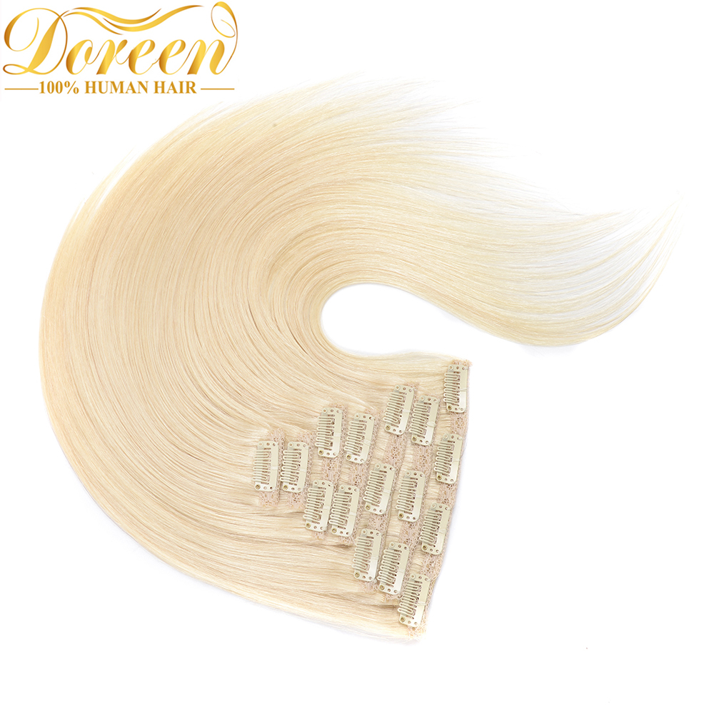 Doreen#60 White Blonde 160G Full Head Set  Clip In Human Hair Extensions Brazilian Machine Made Remy Real Hair Straight 14-26(China)