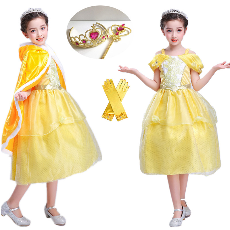 2018 New Girls Princess Belle Dress up Costume Kids ...