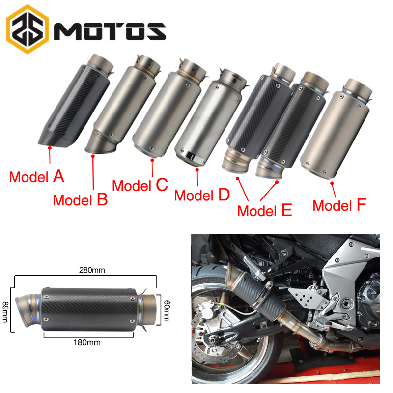 ZS MOTOS 38 60mm Universal Short Exhaust Muffler Tip Pip Silp On Motorcycle Silencer Exhaust System