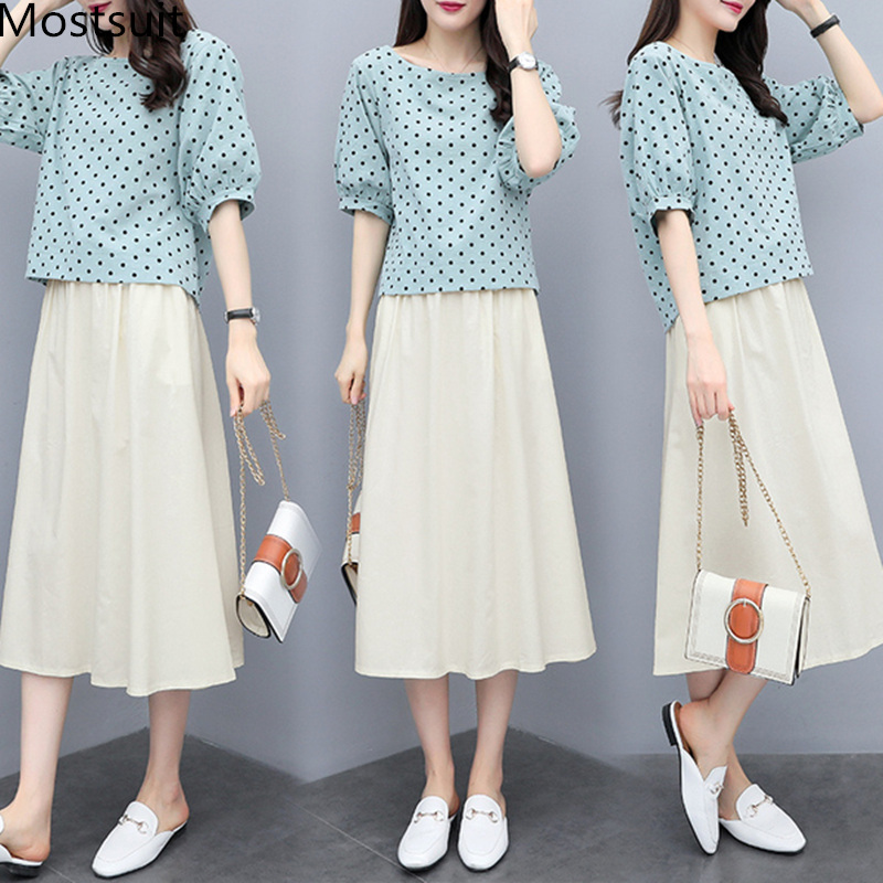 S-3xl Summer Cotton Linen Korean Women Two Piece Outfits Sets Plus Size Dot Print Tops And A-line Skirt Suits Casual Office Sets 47