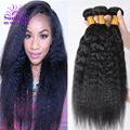 7A Brazilian Kinky Straight  4pcs YaKi Human Hair Extension Cheap Kinky Straight  Weave Coarse YaKi Virgin Hair Top Hair Vendors