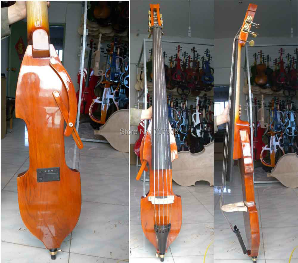 3/4 new 5 string Electric Upright Double Bass Finish silent Powerful Sound 0012 2# 002208 4 string 3 4 new electric upright double bass finish silent powerful sound