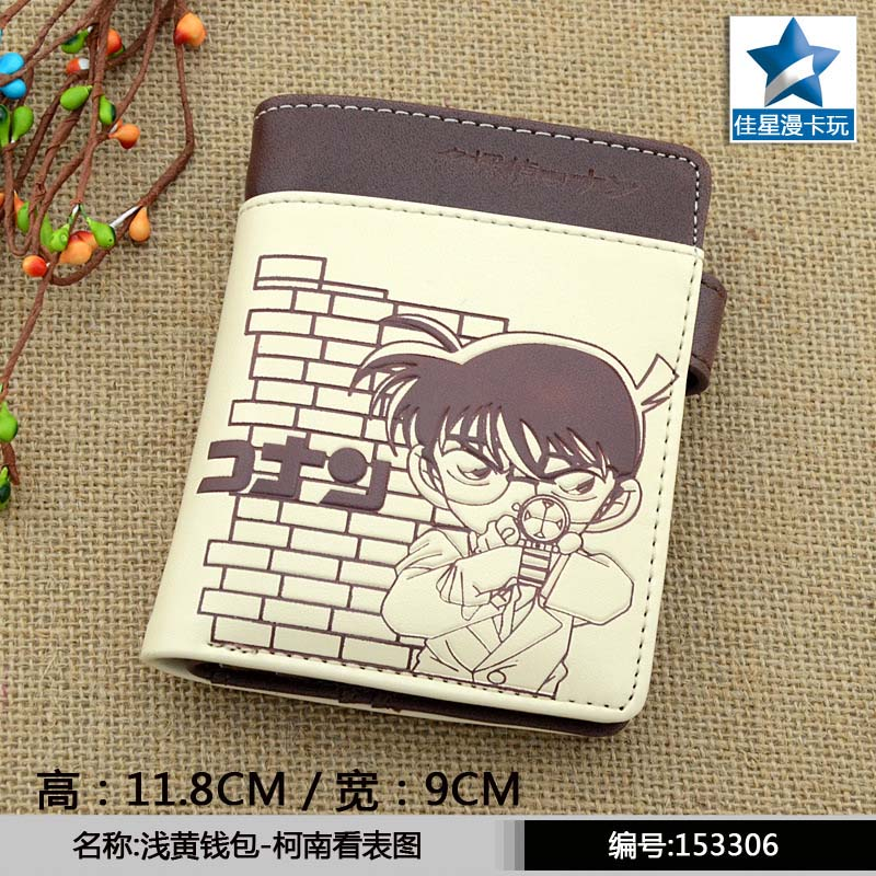 Pale-yellow Anime Detective Conan PU Wallet/Short Purse With Button moana maui high quality pu short wallet purse with button