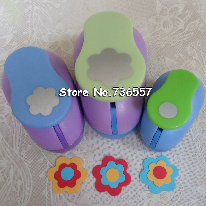 Free Shipping 3PCS Circle And Petal Shaped Craft Punch Set School Scrapbook Gifts DIY Paper Cutter EVA Foam Flowers Hole Punches