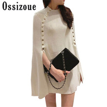 Oversize New Fashion Winter Autumn Poncho Double Breasted Brand Knitted Sweater Women  Sweaters and Pullovers Pull Femme Jumper