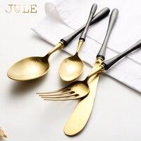 Luxury Vintage Vàng Bộ Đồ Ăn Dao Kéo 24 cái Thép Ăn Dao Forks Muỗng Cà Phê Đặt Theo Kiểu Phương Tây Cổ Điển Đồ Ăn Đặt Bữa Ăn Tối