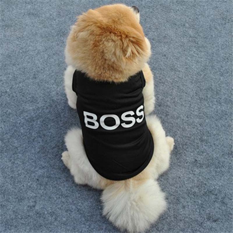 Funny BOSS Puppy Costume Doggy Shirt Summer Breathable Polyester Small Dogs Cats Vest T-shirt Pet Supplies Dog Accessories 3