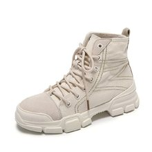 Women's Martin boots 2019 new wild ins spring and autumn women's short boots round head solid color high help women's snow boots(China)