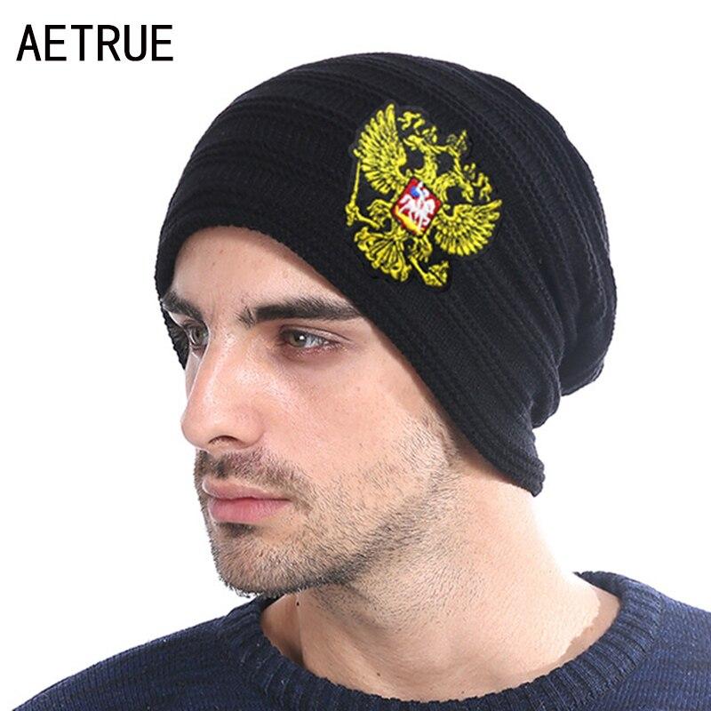 Winter Knitted Hat Russian Emblem Skullies Beanies Winter Hats For Men Women Brand Caps Warm Baggy Gorras Bonnet Cap Hat 2018