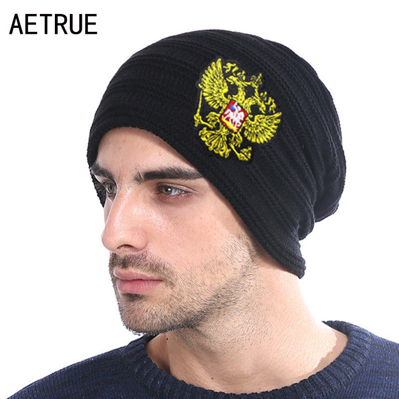 Winter Knitted Hat Russian Emblem Skullies Beanies Winter Hats For Men Women Brand Caps Warm Baggy Gorras Bonnet Cap Hat 2018