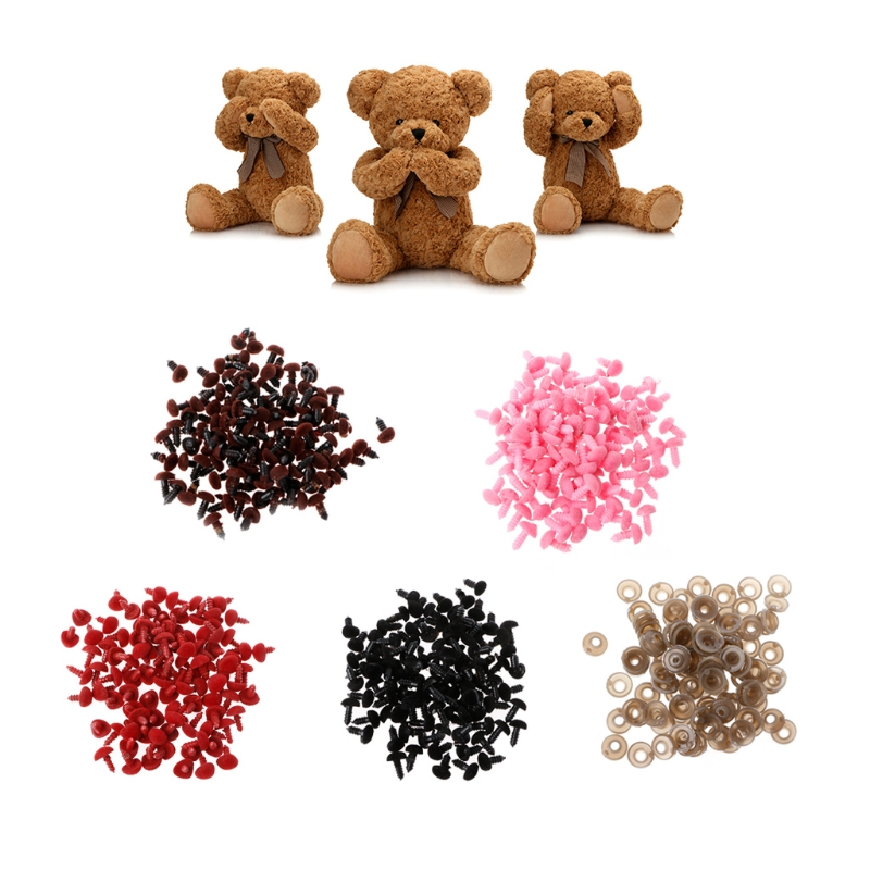 100Pcs Plastic Safety Triangle Velvet Noses For Animal Puppet Teddy Bear Doll
