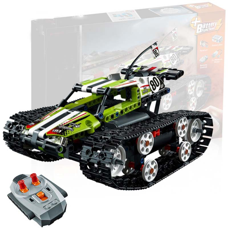 Motor Power Function Rc Tracked Racer Car Electric Fit <font><b>Legoings</b></font> Technic Car <font><b>42065</b></font> Speed Car Building Block Bricks Model Kid Gift image