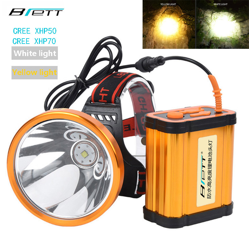 Led Headlamp Xhp70 Or Xhp50 White Or Yellow Light Optional Built-in 8*18650 Battery Outdoor Camping Hunting Headlight