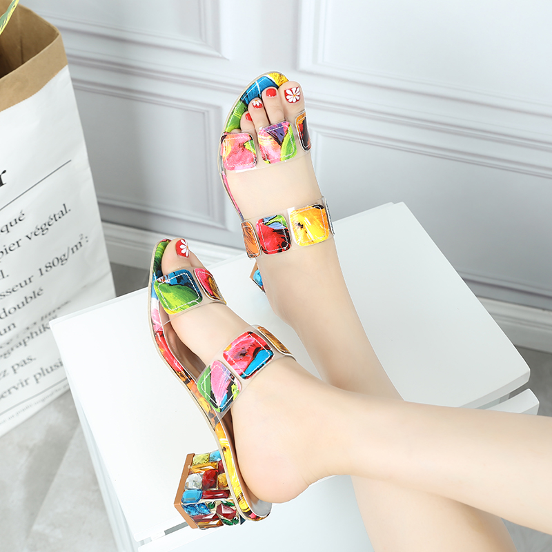Lucyever 2019 Summer Women Multi Colors Sandals Fashion High Heels Open Toe Beach Flip Flops Ladies Crystal Heel Shoes Woman
