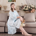 Free Shipping Womens Cotton Home Dress For Sleep Long Sleeve Sweet Retro Thin Summer Nightdress Vintage Nightgown Sexy Lounge