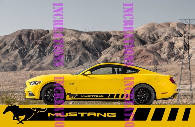 Pour 1 Set/2 pièces Ford Mustang Côté Racing Rayures Autocollants Gt Shelby Convertible Sticketrs Rayures style De Voiture