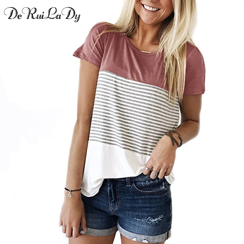DeRuiLaDy Women 2020 New Summer Women Fashion T-shirt O-Neck Short Sleeve Striped T Shirts Female Casual Tops Tees