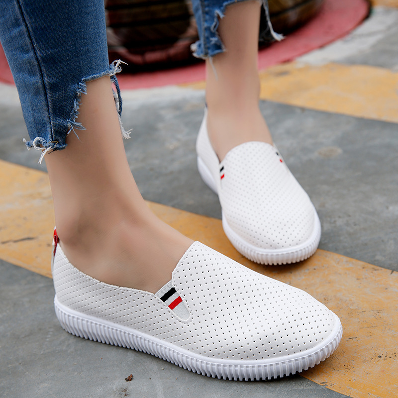 2019 Fashion Womens Sandals Shoe Woman Soft Leather Flat Shoes Hand-sewn Leather Loafers Female Hole Hole Shoes Women Flats