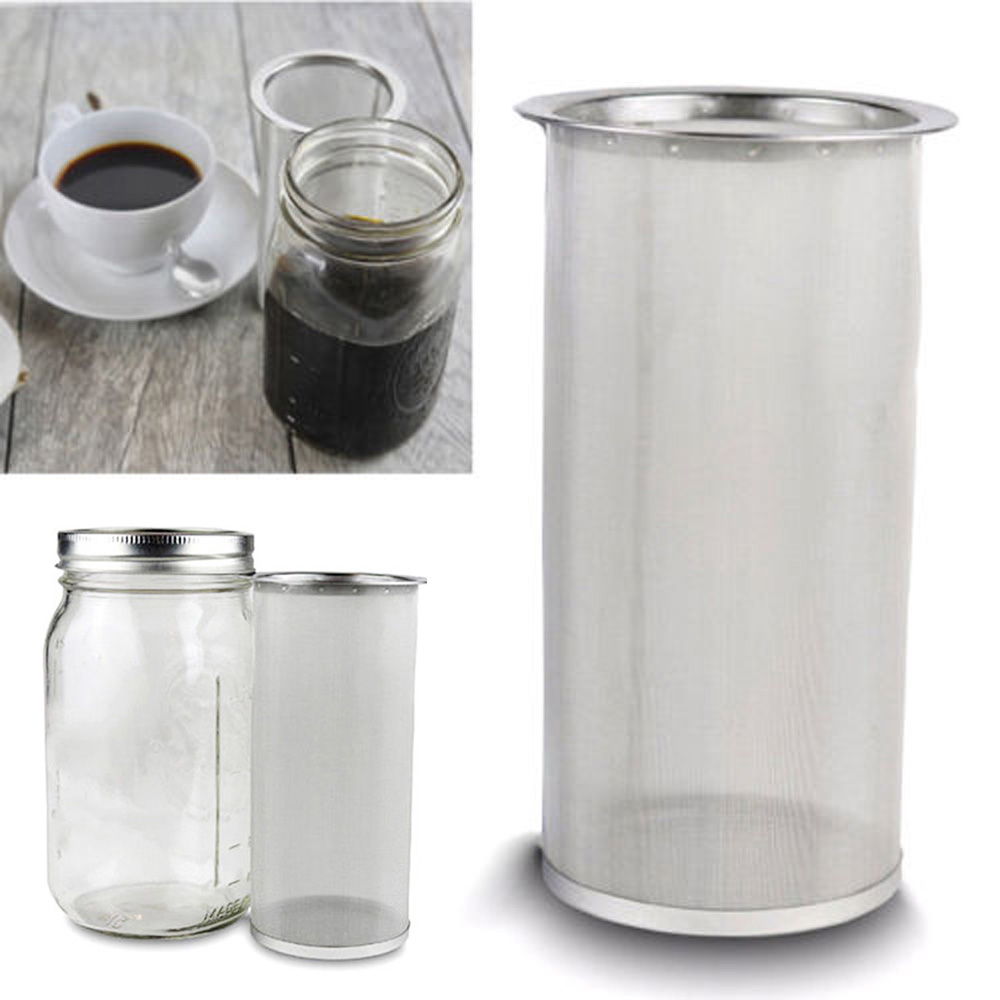 Reusable Cylindrical Cold Brew Coffee Maker Iced Tea Infuser Stainless Steel Fruit Juice Vegetable Juice Filter